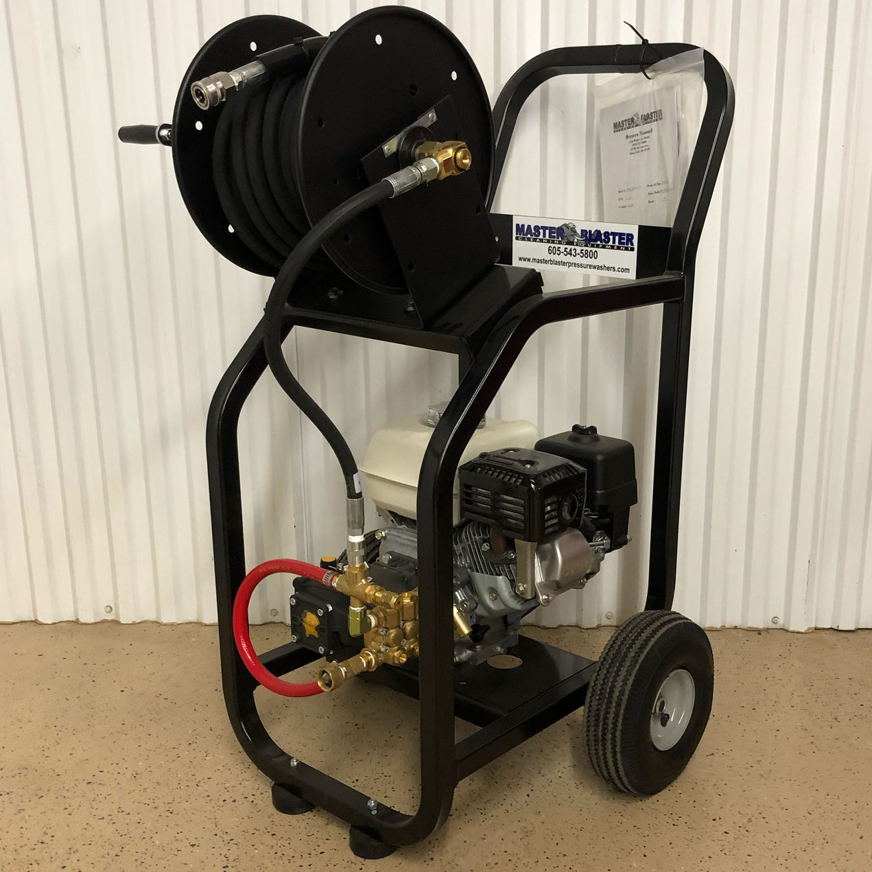 "Adding a Hose Reel Includes Upgrading to Our Heavy-Duty  ""Two Story"" Cart"